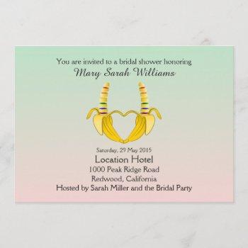 fun gay banana heart bridal shower invitation