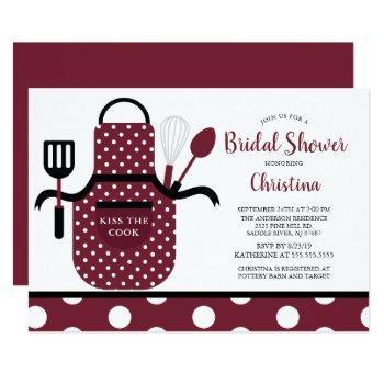 fun retro burgundy kitchen bridal shower invitation