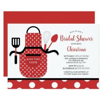 fun retro red kitchen bridal shower invitation