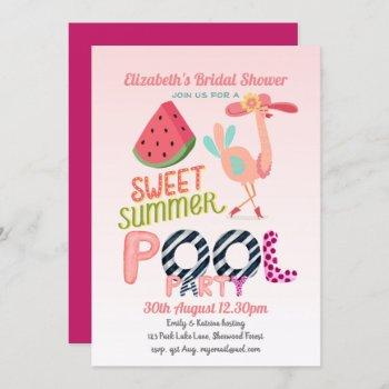 fun tropical flamingo pool party pink blue modern invitation