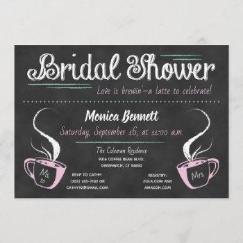 funny coffee chalkboard bridal shower invitation