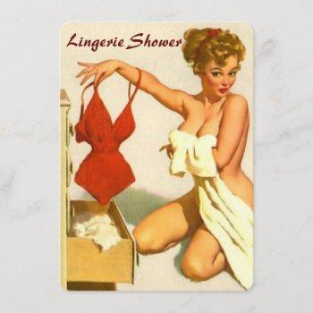 funny retro pin up lingerie shower invitation