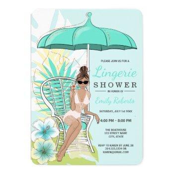 garden lingerie shower brunette bride invitation