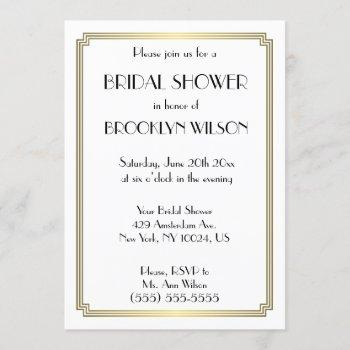 gatsby art deco gold bridal shower invitations