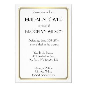 gatsby art deco gold bridal shower invitations