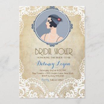 gatsby vintage bridal shower invitation