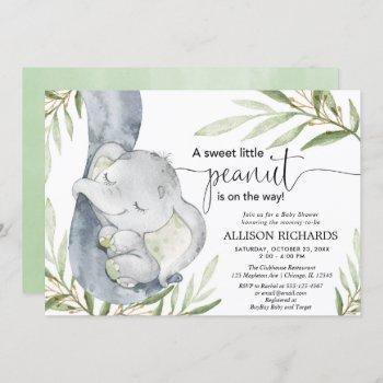 gender neutral baby shower, elephant greenery gold invitation