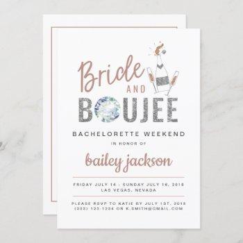 genna - rose gold bride and boujee champagne invitation