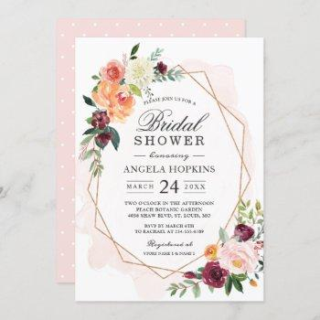 geometric blush watercolor floral bridal shower invitation