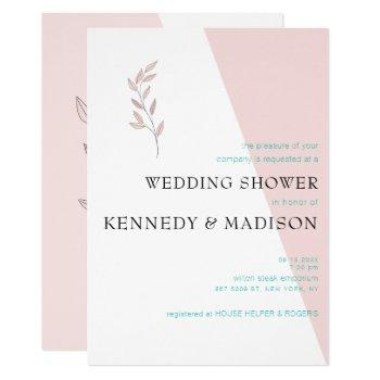geometric coral bridal shower invitation