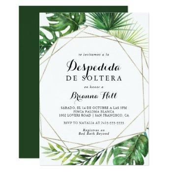 geometric destination spanish bridal shower invitation