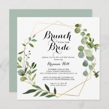 geometric gold brunch with the bride shower invitation
