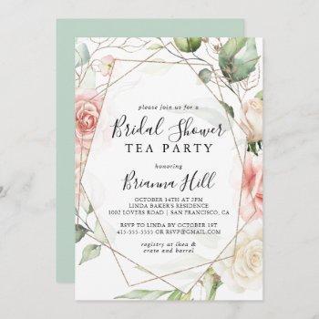 geometric gold floral bridal shower tea party invitation