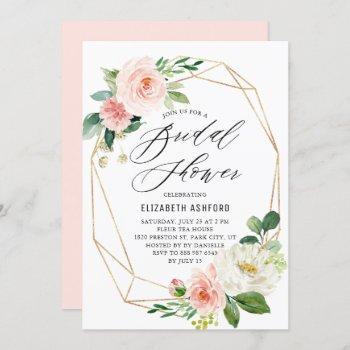 geometric gold frame pink florals bridal shower invitation