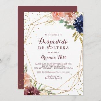 geometric gold glitter spanish bridal shower invitation