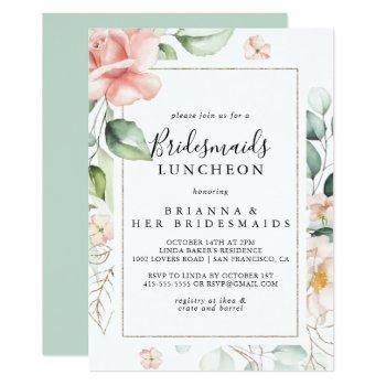 geometric gold green bridesmaids luncheon shower invitation