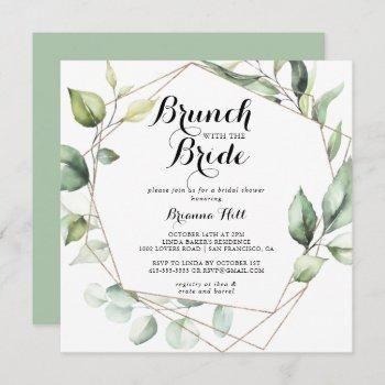 geometric gold green brunch with the bride shower invitation