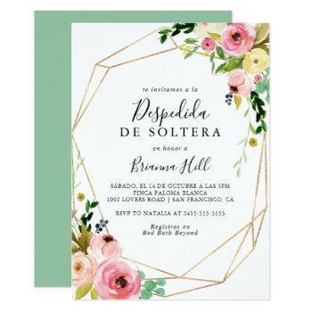 geometric gold tropical fall spanish bridal shower invitation