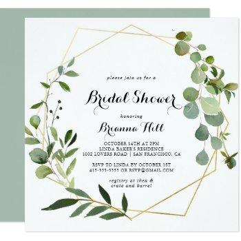 geometric gold tropical green bridal shower invitation
