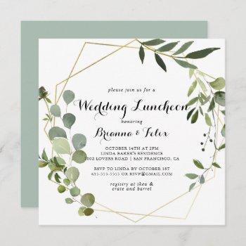 geometric gold wedding luncheon bridal shower invitation