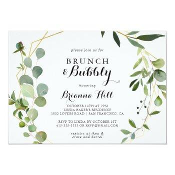 Geometric Tropical Brunch And Bubbly Bridal Shower Invitation Front View