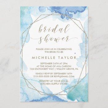 geometric watercolor bridal shower invitation