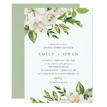 gilded blooms couples shower invitation