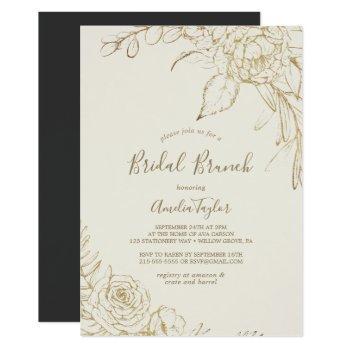 gilded floral | cream and gold bridal brunch invitation
