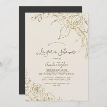 gilded floral | cream and gold lingerie shower invitation