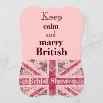 girly grunge union jack british bride invitation