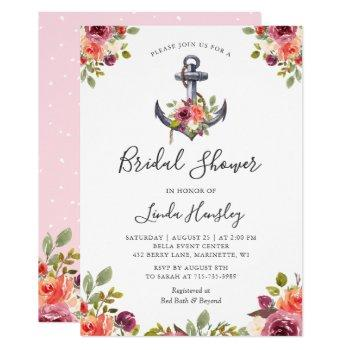girly nautical anchor floral bridal shower invitation