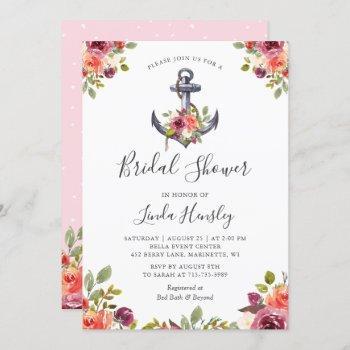 girly nautical anchor floral bridal shower invitation