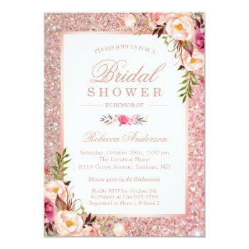 Girly Rose Gold Glitter Pink Floral Bridal Shower Invitation Front View