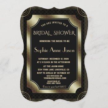 glam gold great gatsby art deco 20s bridal shower invitation