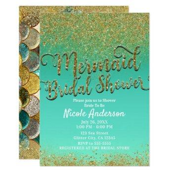 glam mermaid bridal shower gold glitter & teal invitation