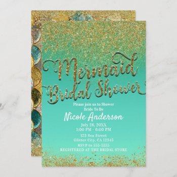 glam mermaid bridal shower gold glitter & teal invitation