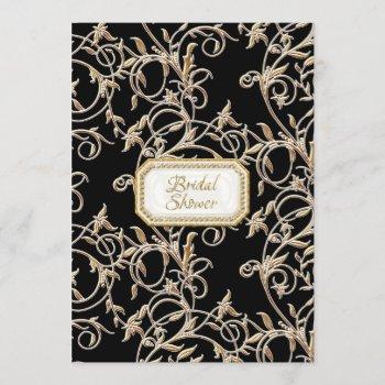 glam old hollywood regency black bridal shower invitation