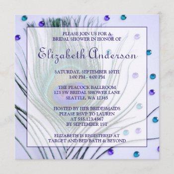glam peacock feather purple bridal shower invitation