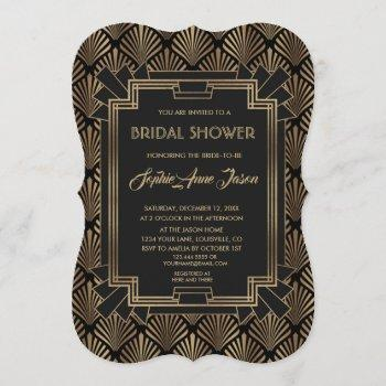 glam roaring 20's great gatsby bridal shower invitation