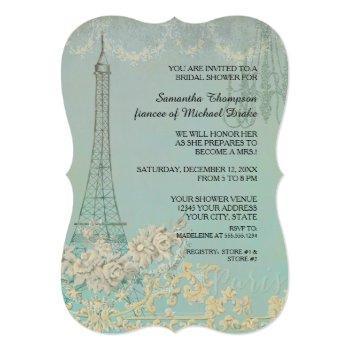 glam vintage paris parisian stylish bridal shower invitation