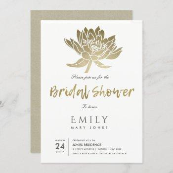 glamorous gold white lotus floral bridal shower invitation