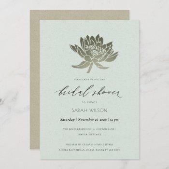 glamorous pale blue silver lotus bridal shower invitation