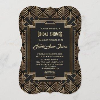 glamorous roaring 20's great gatsby bridal shower invitation