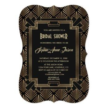 glamorous roaring 20's great gatsby bridal shower invitation