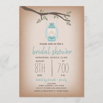 glamping bridal shower - blue lantern invitation