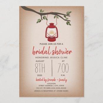glamping bridal shower - red lantern invitation