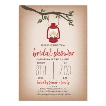 glamping bridal shower - red lantern invitation