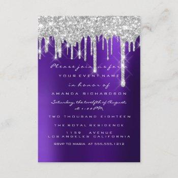 glitter drips silver purple bridal sweet 16th invitation