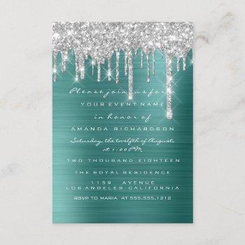glitter drips silver teal green bridal sweet 16th invitation