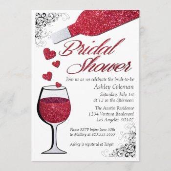 glitter wine bridal shower invitation
